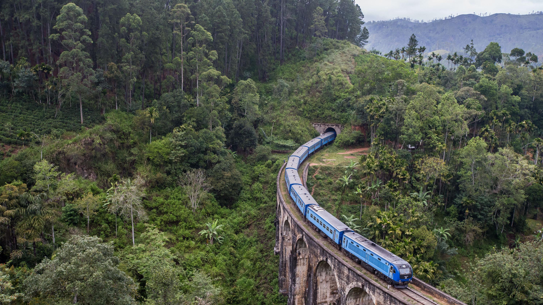 Tren en el medio de la naturaleza de Sri Lanka