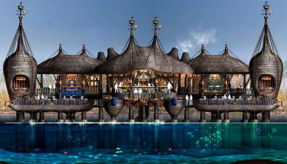 boceto de estructura del Crossroads Emboodhoo Lagoon