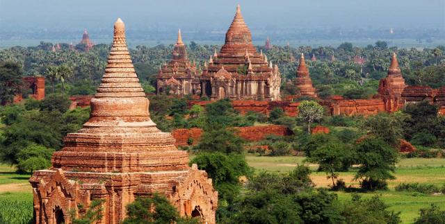 viaje a birmania: vista panoramica de la region de Bagán