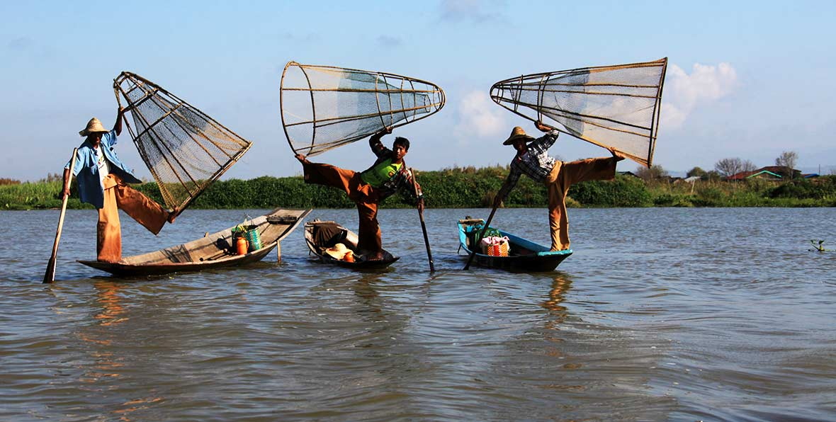 viaje a Birmania: la tecnica de pesca de los remeros de pié