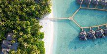 vista aerea de las water villas de Fihalhohi Island Resort