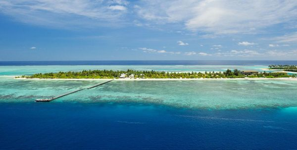 Vista aerea del Fun Island en Maldivas